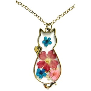 Pendant – Glass Cat Shaped with Real Flowers