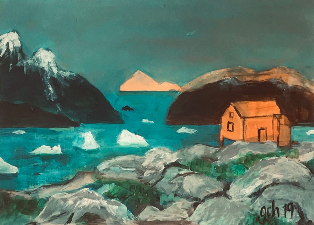 Rocks of Greenland, view to icebergs and a little orange house
