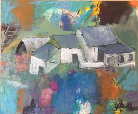 Old farmhouse on canvas