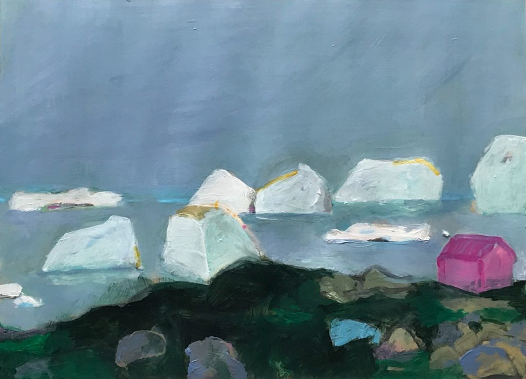 Painting of a little pink house in front of large iceberg's