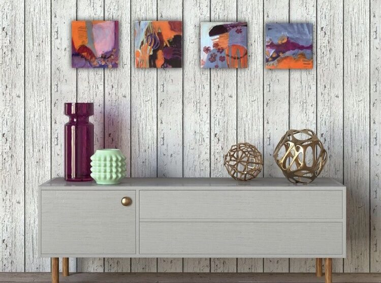 A collection of 4 small paintings belonging to a series make a sideboard an outstanding eye catcher.