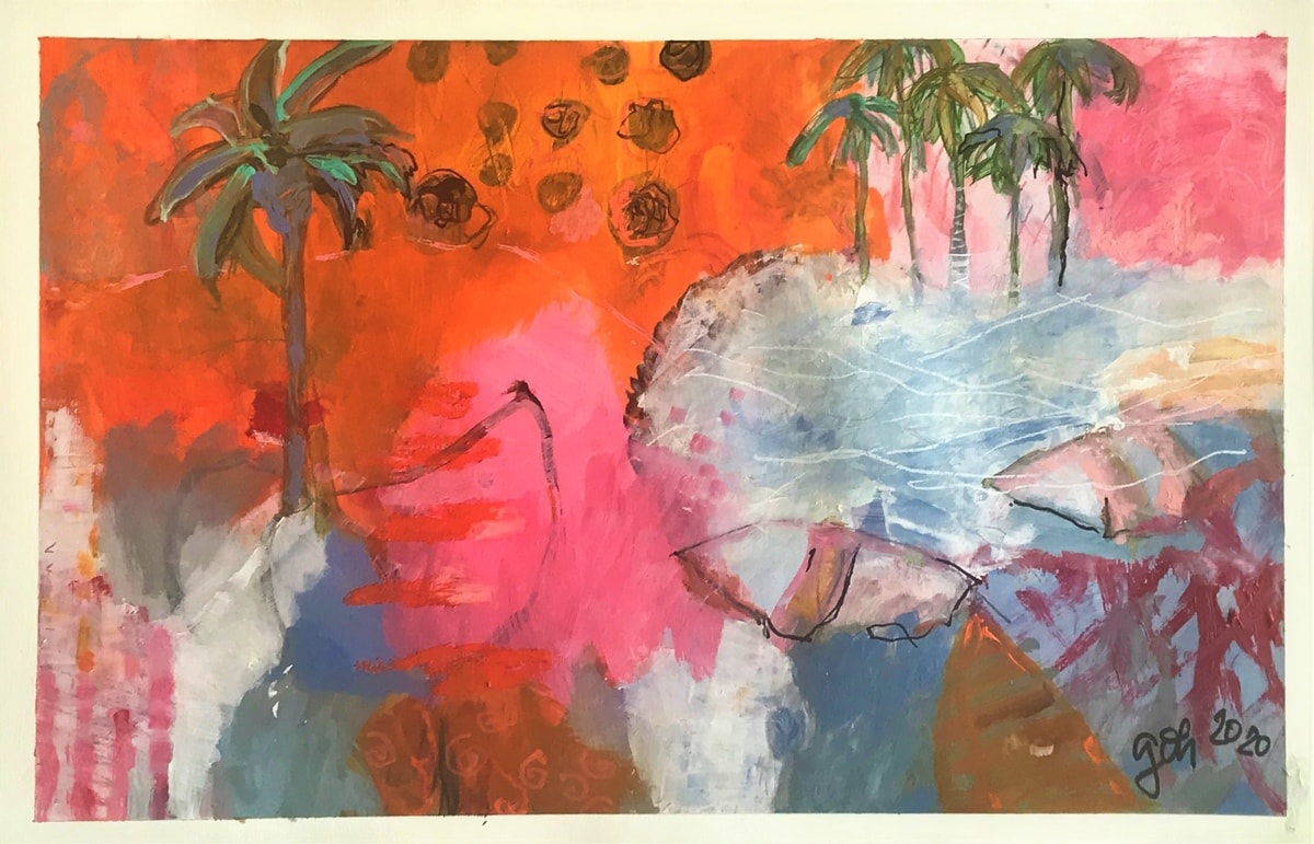 Pink and organge painting under 200 €