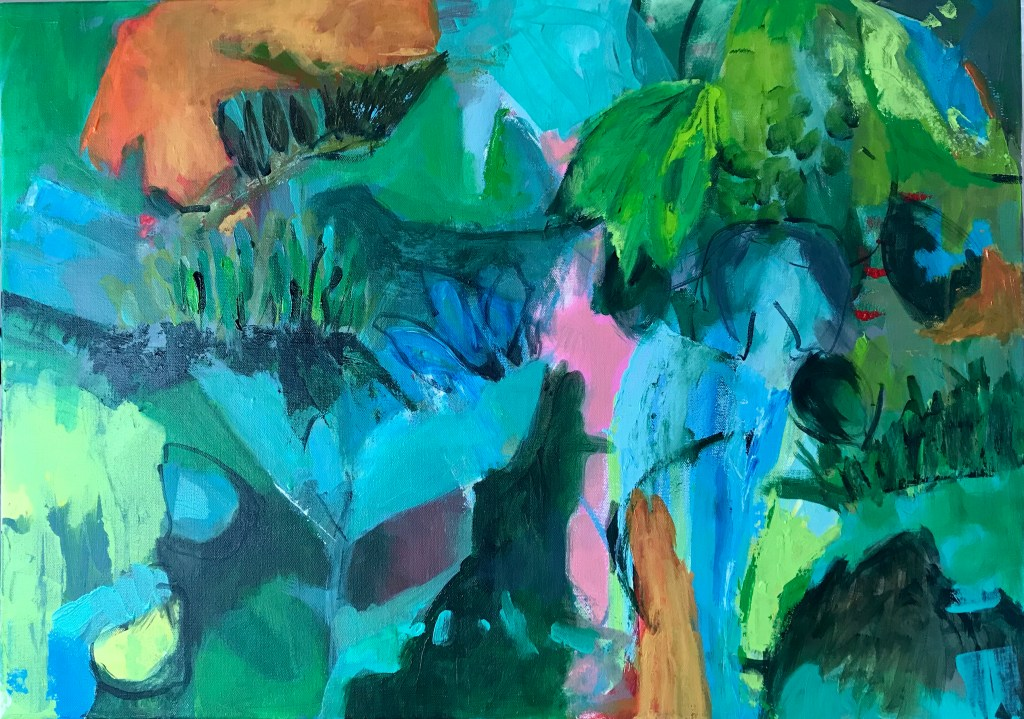 Green abstract painting featuring trees and leaves