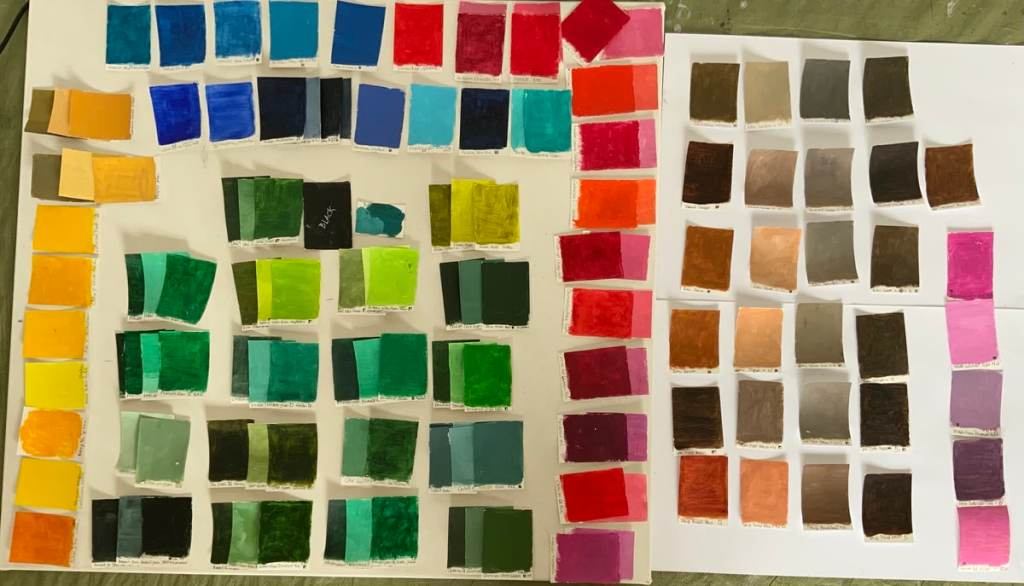 Many color swatches in the 100 day project