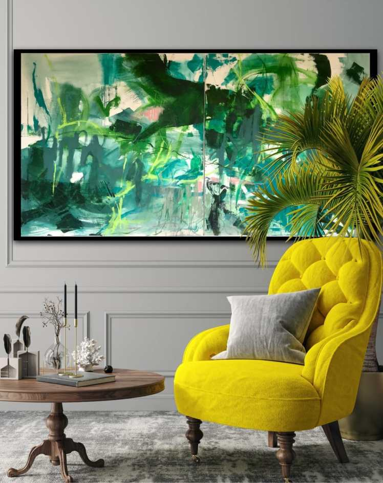 """Awaiting the blossoming of the water lilies"" in a home setting with yellow easy chair."