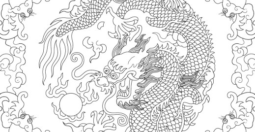 Coloriage gratuit dragon du 23 avril