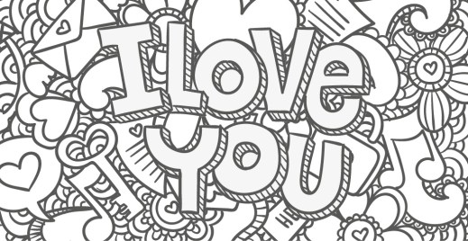 Coloriage gratuit, I love you 2 mai