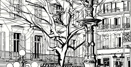 Coloriage gratuit, ville avec fontaine - Artherapie.ca