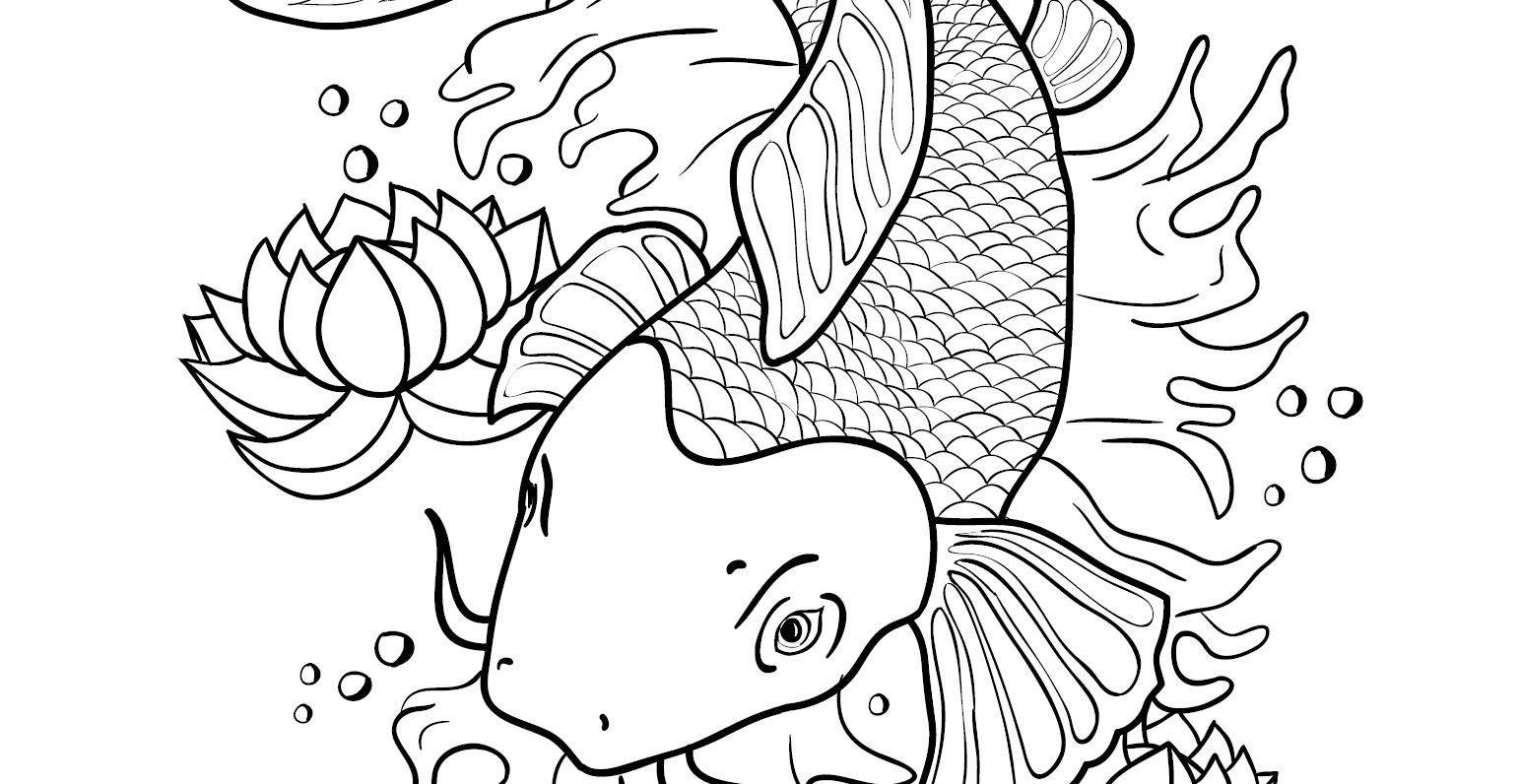 Coloriage Gratuit Poisson Japonais Koi Artherapie Ca