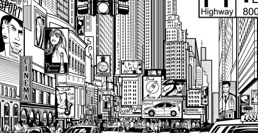 Coloriage gratuit, ville shopping, Times Square