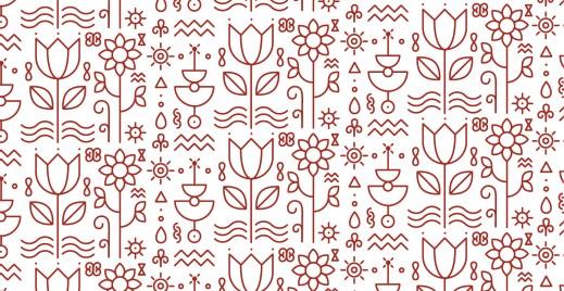 Coloriage gratuit, hiéroglyphe fleurs