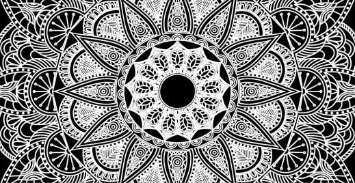 Coloriage inversé gratuit, mandala noir