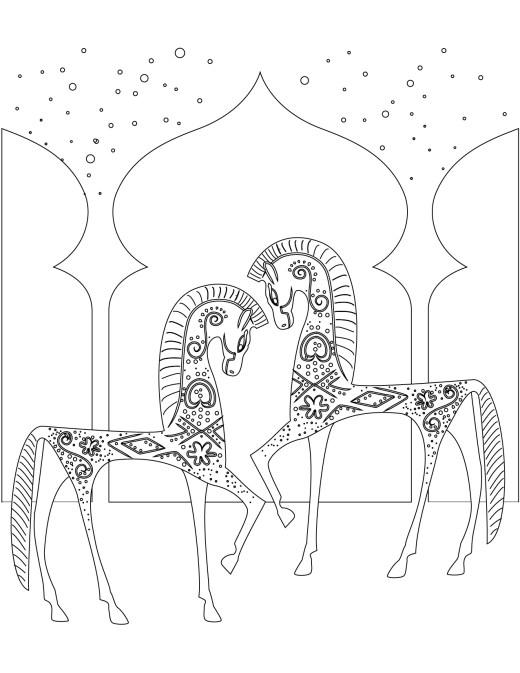 coloriages adultes gratuit, chevaux d'arabie