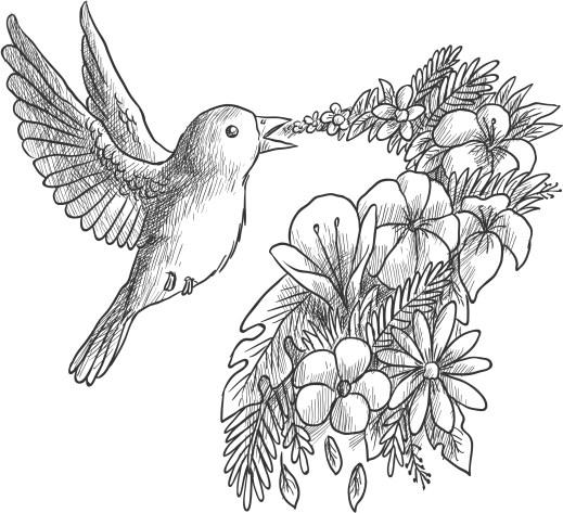 Coloriage grayscale gratuit, oiseau qui chante des fleurs