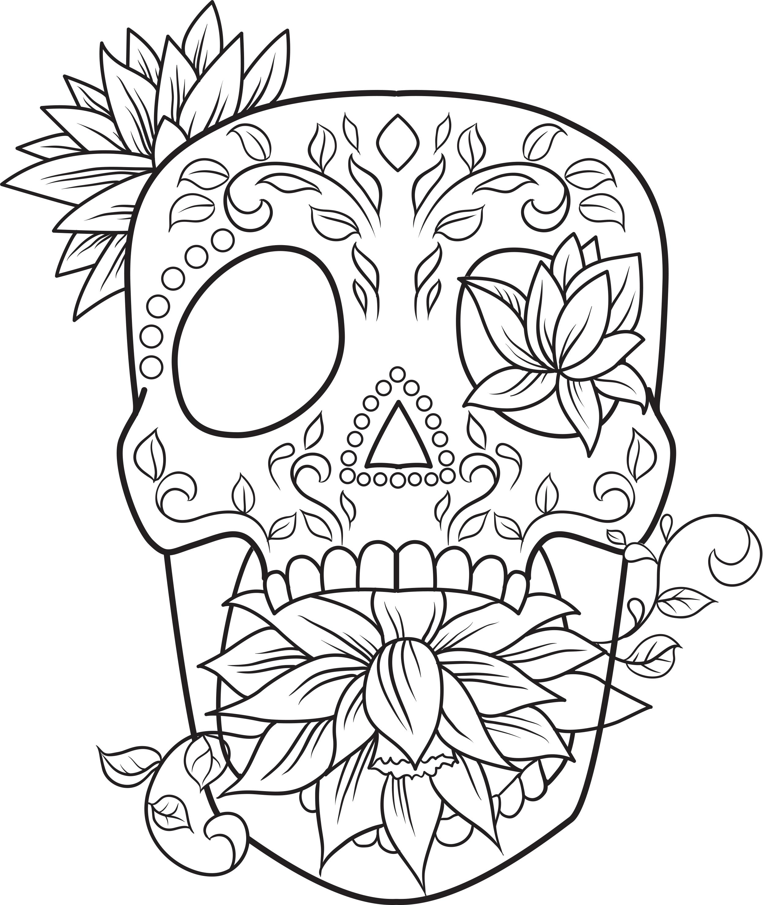 Coloriage Adulte Gratuit Lotus Sugar Skull