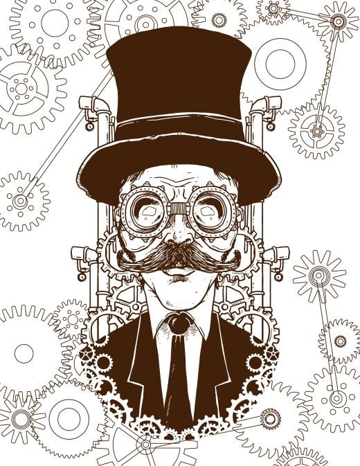 imprimer coloriage homme steampunk