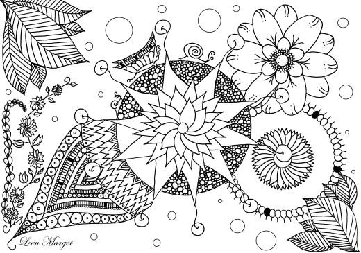 Coloriage gratuit par Leen Margot, doodle fleurs