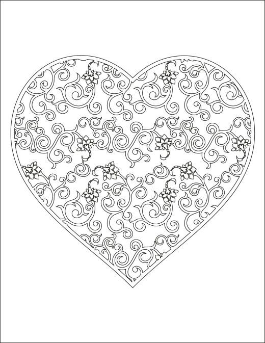 Coloriage à imprimer gratuit, coeur doodle