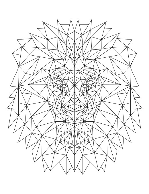 imprimer coloriage lion triangle