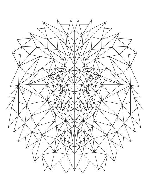 imprimer coloriage lion triangle