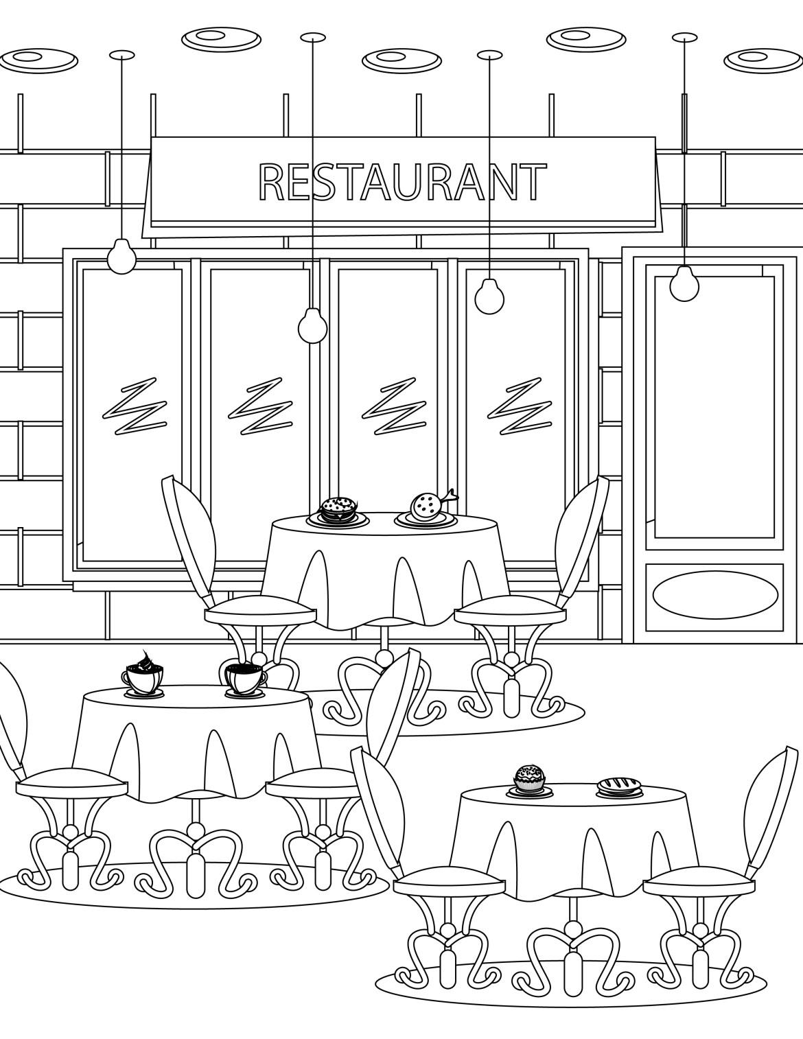 imprimer coloriage tous au restaurant