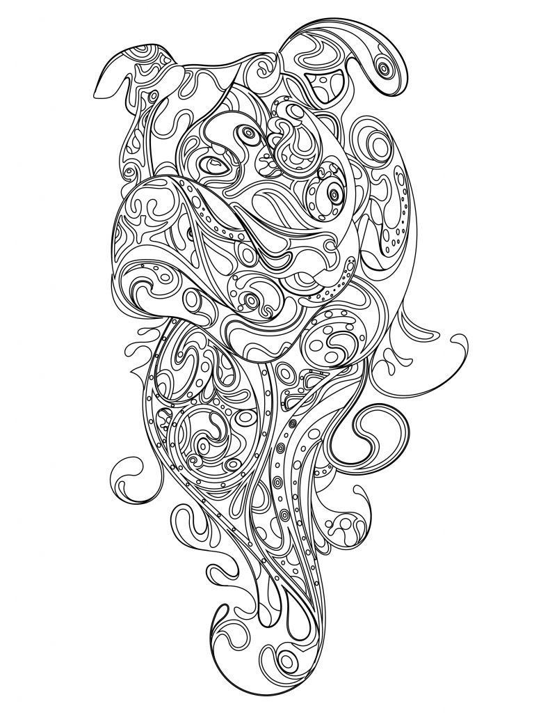 Coloriage Anti Stress Chien.Coloriage De Bulldog Doodle Chien Anti Stress Artherapie Ca