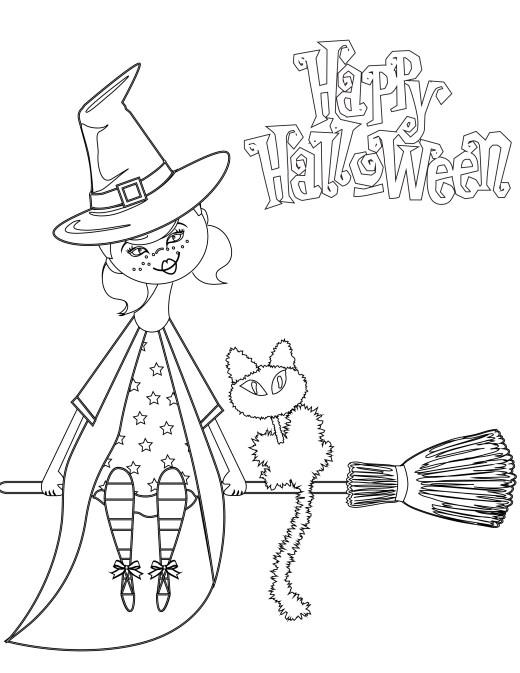 dessin à imprimer joyeux halloween sorcière