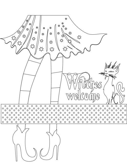 coloriage de sorcière Halloween à imprimer