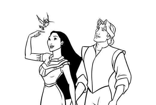 Coloriage de Disney Pocahontas princesse à imprimer