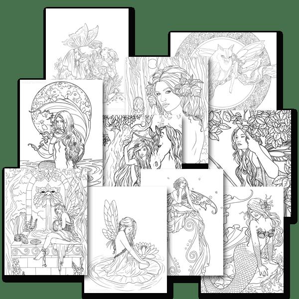 Coloriages pour adultes fées et sirènes par Selina