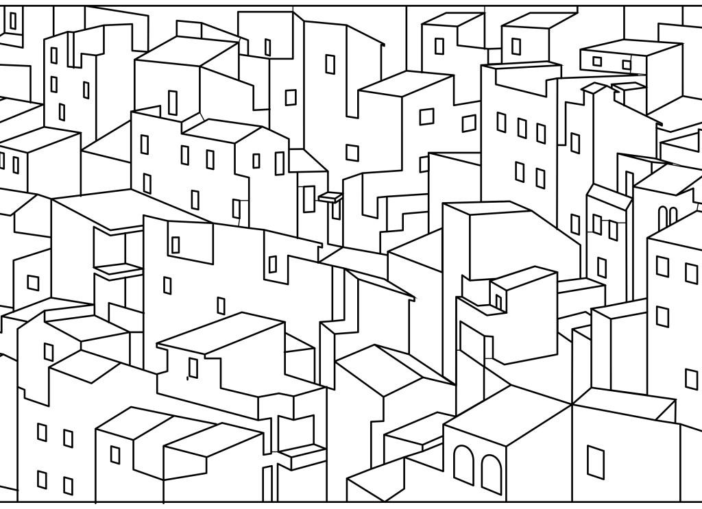 Dessin imprimer coloriage maisons ville - Coloriage ville ...
