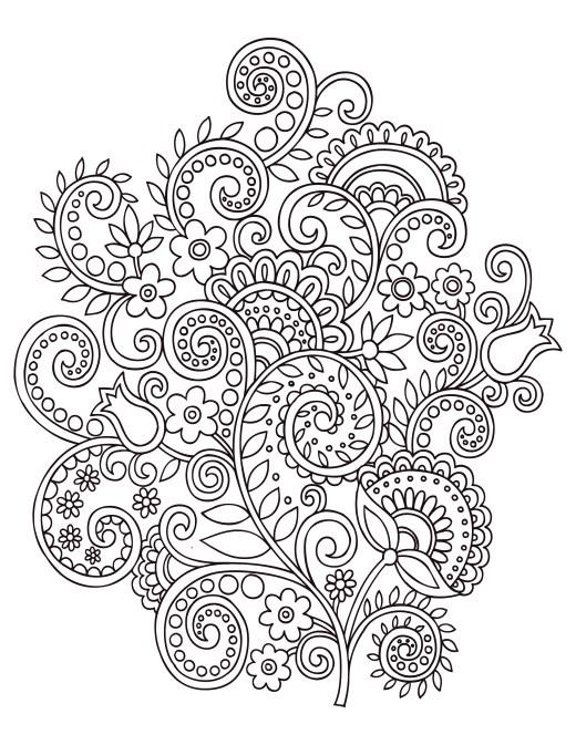 Fleurs doodle coloriage anti stress gratuit