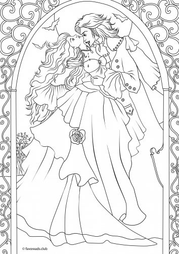 coloriage pour adulte vampire romantique