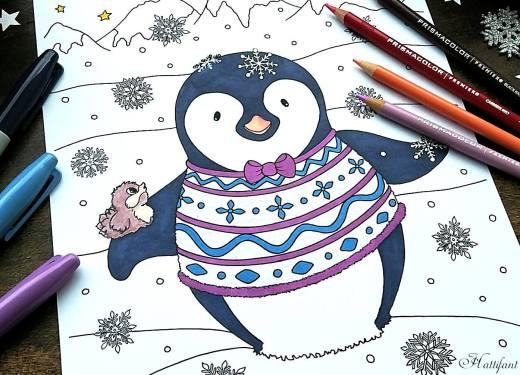 Pingouin de noel à imprimer par Hattifant