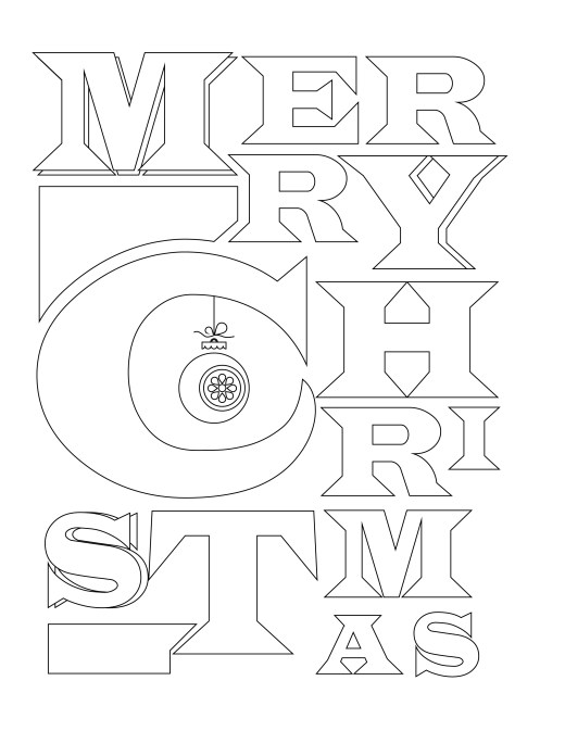 Joyeux noel Merry Christmas typographie à colorier