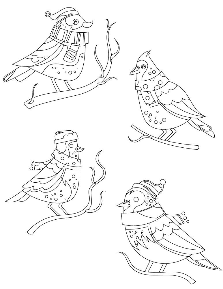 dessin à imprimer gratuit oiseaux hiver