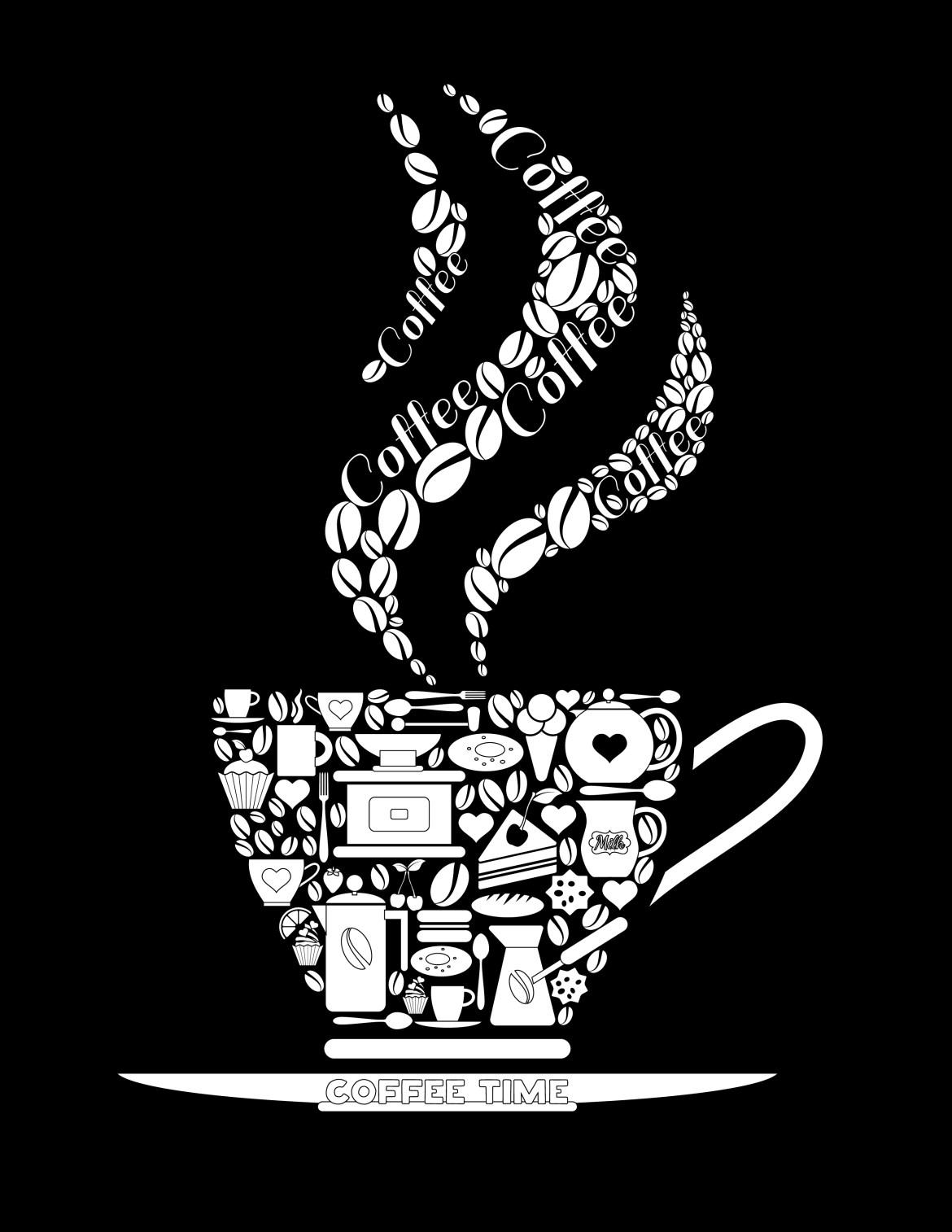 Coloriage noir image tasse de caf imprimer - Dessin tasse a cafe ...