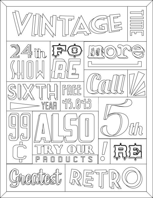 Coloriage pour adulte vintage typographie