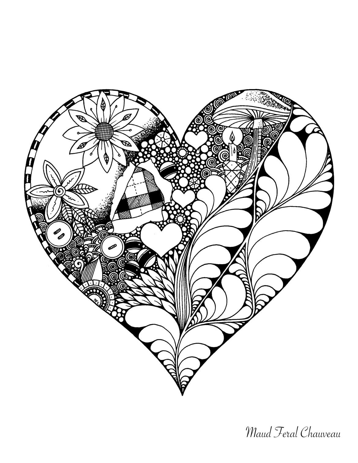 Coloriage doodle coeur st-valentin par Maud Feral