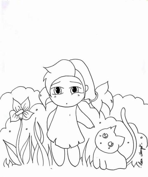 Dessin de manga fille chibi par Leen Margot