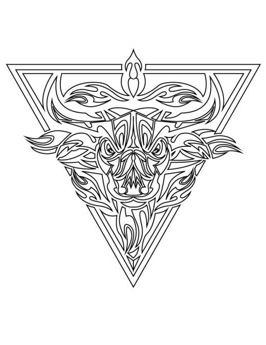 Tattoo vintage tribal buffle triangle gratuit