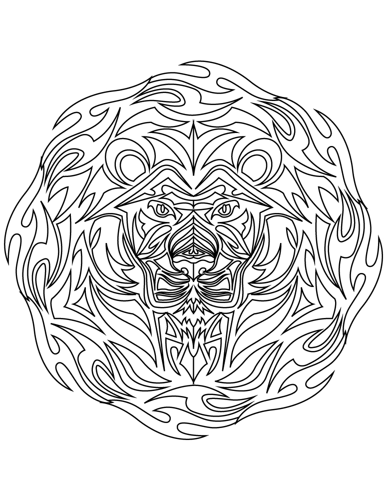 Image tattoo tribal lion à colorier