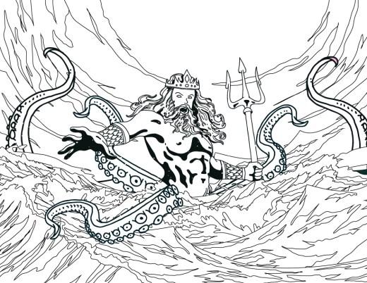 Dessin à colorier de Poseidon dieux des mers