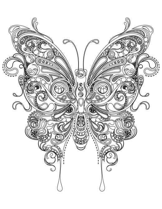 Coloriage papillon très difficile à imprimer