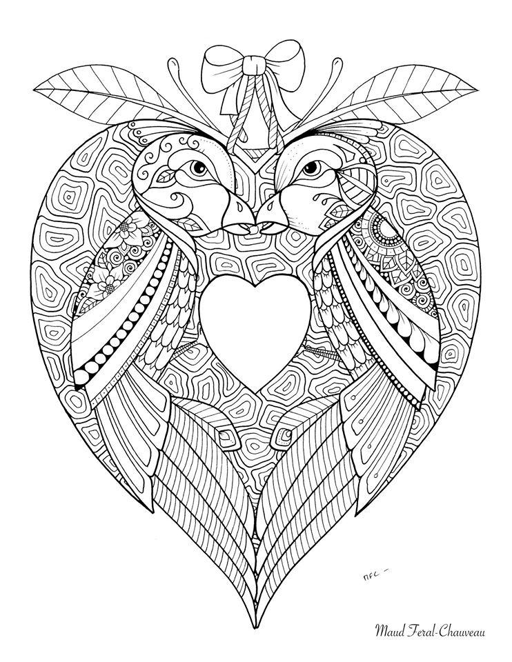 Oiseaux amoureux coloriage St valentin par Maud Feral