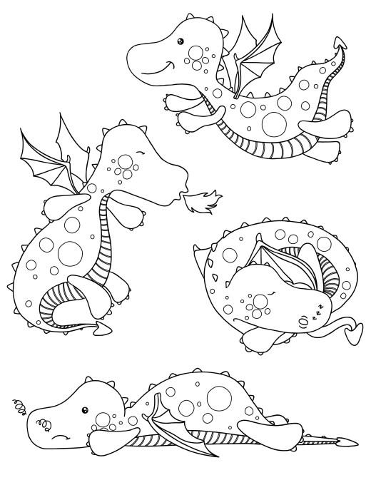 Adorables dragons à imprimer et colorier