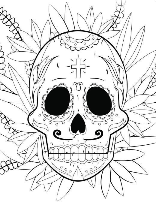 Crane mexicain Skull candy à colorier