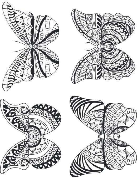 Quatre papillon géométrie pour adulte à imprimer