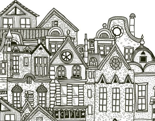 Ville détaillée à imprimer et colorier gratuit