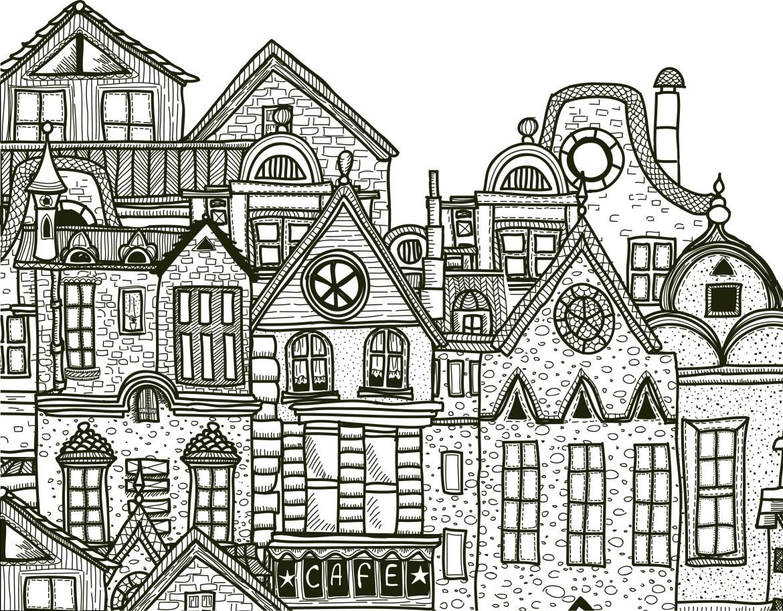 Ville Détaillée à Imprimer Et Colorier Gratuit Artherapieca